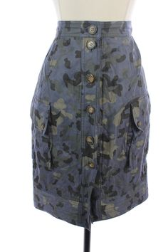 CHARLES NOLAN Blue Green CAMO Button Down PENCIL Straight Dress SKIRT S 4  #CharlesNolan #StraightPencil#FallFASHION #FallFashion2014 #FashionTrends #WomensStyletips  #WorkWear #StyleClothes http://www.ebay.com/itm/151489749761