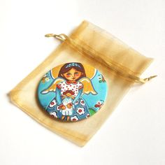 Angel mirror Pocket mirror Compact mirror Hand mirror Little mirror Little girl makeup mirror Girl purse mirror favors Little girl birthday
