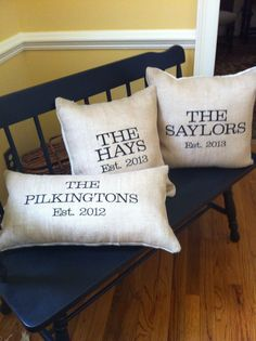 Burlap pillow, wedding gift