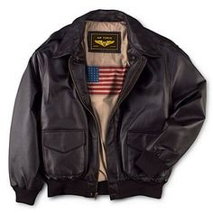 This flight jacket made to the same unyielding standards as the authentic A-2 military version. Soft lamb touch supple nappa is sewn with a dual entry pockets, plus ribbed cuffs and hem to snug in warmth. Imprinted U.S flag lining.