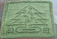 Christmas tree knitted dishcloth pattern - so fun!