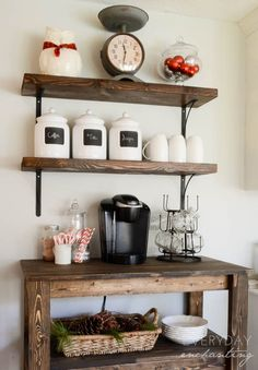 Simple rustic coffee bar, great for everyday mornings and hospitality. Mounted wood shelves, wooden cart as the counter.