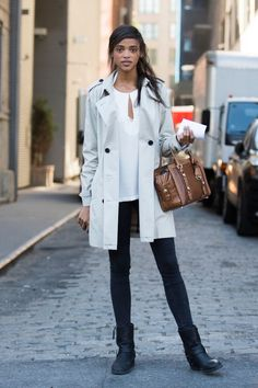 winter outfit idea skinny jeans ankle boots trench square