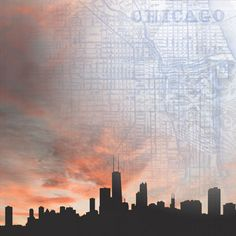 Paper House Productions - Chicago Collection - 12 x 12 Paper - Chicago Skyline at Scrapbook.com $0.69