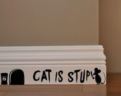 MOUSE GRAFFITI WRITER funny wall decal CAT IS STUPID sticker #CAT