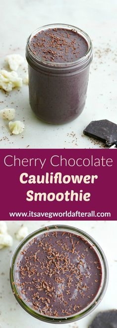 This healthy smoothie features frozen cauliflower with sweet cherries, banana, and cocoa powder! It makes a delicious vegan dessert or snack and takes just a few minutes to whip up. #smoothie #cauliflowersmoothie #vegansmoothie Vegetable Smoothie Recipes, Yummy Smoothie Recipes, Veggie Snacks, Vegetable Smoothies, Drink Recipes, Healthy Snacks, Healthy Cocktails, Healthy Smoothies, Healthy Starbucks