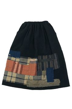 French antique black linen patchwork skirt with Japanese