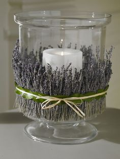 Super natural room fragrance idea: Wrap your favorite dried flowers or herbs around our hurricane for added fragrance. We used double stick tape to secure and then tied with raffia. Lavender Crafts, Lavender Flowers, Dried Flowers, Lavender Ideas, Buy Flowers, Bougie Candle, Dried Flower Arrangements, Candle In The Wind, Flower Crafts