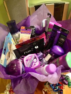 Favorite color themed gift basket for my best friends birthday that I made. Throw together a bunch of fun toiletries and makeup and a few gift cards all of that persons favorite color. Fun to make and give - she loved it.
