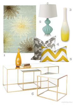 aqua blue and chartreuse yellow, nesting tables/coffee table with glass and gold leaf edges