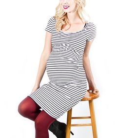 Take a look at this White & Black Stripe Maternity Dress on zulily today!