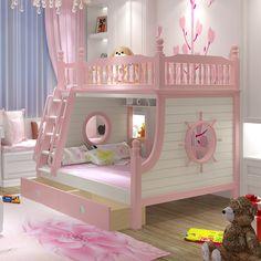 Двухъярусные детские кровати в Интернет-магазине Nazya.com Little Girl Beds, Bed For Girls Room, Little Girl Rooms, Baby Bedroom, Girls Bedroom, Princess Bedrooms, Cool Kids Rooms, Kids Bunk Beds, Cozy Room