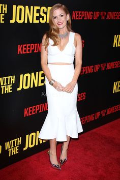 Isla Fisher White Ankle Length Dress Keeping Up with the Joneses Premiere 2016