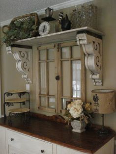 The Red Chandelier: Our First House (Dining Room)... Wow, reclaimed window, corbels as shelf supports... this is lovely use of architectural salvage!!