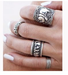 4 piece Set Vintage Punk Ring Set - Antique Silver Elephant Totem Leaf Lucky Rings - Nonpareil Jewelry - 1