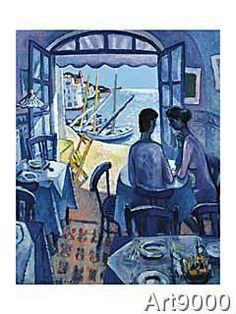 Art Print, Canvas on Stretcher Blue Sunset, Sunset Art, Spanish Art, Musical, Fine Art, Art Prints, Canvas, Pictures, Photos
