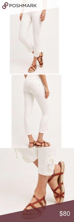 """Anthropologie Pilcro Stet White Lace-Up Jeans Anthropologie Pilcro Stet and Letterpress White Lace-Up Mid-Rise Jeans. Five pocket styling; skinny fit. Cotton, spandex. Machine wash. Lace-up detail at ankle. 8.75"""" rise. 26"""" inseam. Anthropologie Jeans Skinny"""