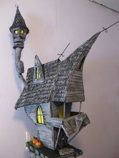 The Fantasy Forest: Jack's Haunted House ~ Tom Dombroski Clay Fairy House, Gnome House, Fairy Garden Houses, Witch House, Fairy Gardens, Clay Houses, Miniature Houses, Paper Houses, Doll Houses