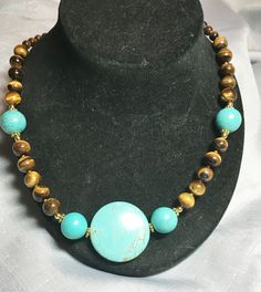 Turquoise & Tiger Eye Necklace #19