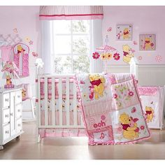 winnie the pooh crib bedding set beautiful about remodel small home decoration ideas with winnie the Baby Girl Crib Bedding, Baby Bedroom, Nursery Room, Baby Motiv, Winnie The Pooh Nursery, Disney Nursery, Baby Shower Deco, Baby Room Themes, Baby Furniture