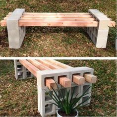 Garden bench made of bins and wooden boards
