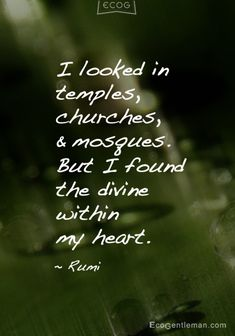 """♂ """"I looked in temples, churches, and mosques. But I found the divine within my heart"""" #Quotes by #Rumi #ecogentleman"""