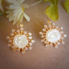 Regenz Sea Mother of Pearl Earrings Brand New   Etsy Mother Of Pearl Rose, Mother Of Pearl Earrings, Jewelry Findings, Diamond Cuts, Bronze, Sea, Jewels, Gemstones, Gold