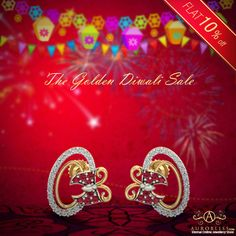 Get, Set, Ready to Party at the Diwali Celebrations with this stunning gold earrings. Diwali Gifts, Happy Diwali, Diwali Sale, Diwali Celebration, Gold Earrings, Celebrations, Neon Signs, Party, Gold Stud Earrings