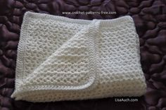 free crochet baby blanket pattern beginners simple V-stitch crocheted baby blanket optional edging included.