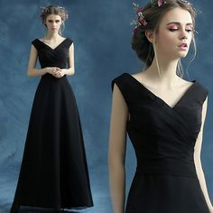 Black v-neck long wedding dress Moderator dress $85   => Save up to 60% and Free Shipping => Order Now! #fashion #woman #shop #diy  http://www.weddress.net/product/black-v-neck-long-wedding-dress-moderator-dress