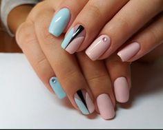 ногти, красивый дизайн ногтей, нейл арт, розовые ногти, голубые ногти