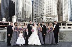 city wedding party portrait