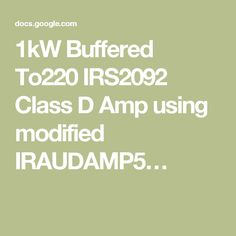 1kW Buffered To220 IRS2092 Class D Amp using modified IRAUDAMP5…