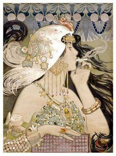 Art Nouveau Poster illustration by Manuel Orazi for Job Cigarette Paper, Art And Illustration, Illustrations Vintage, Illustrations Posters, Art Nouveau Poster, Art Deco Posters, Vintage Posters, Vintage Art, Film Posters, Unique Vintage