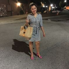 Asos Gingham dress shirt, Sam Edelman hot pink chunk heels and Vineyard Vines straw tote