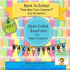Start the school year off with a conversation about the summer break.  12 open-ended questions cards plus activity sheets for written responses  FREE!