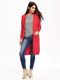 Relaxed Open-Front Long Sweater for Women