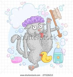 The gray cat washes paw