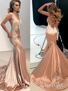 4c68019e51 Sexy Mermaid Backless Prom Dress Nude Long Lace Prom Dresses APD3401