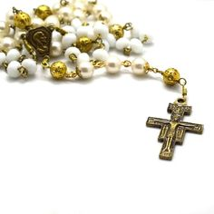 Vintage Style, Vintage Fashion, Faceted Crystal, Crucifix, Metal Beads, Bronze Finish, Pearl White, Centerpiece, Prayer