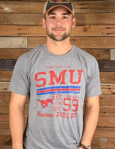 MUSTANG NATION! Getcha one of these fantastic Southern Methodist University tees, a Barefoot Campus Outfitter exclusive, perfect for tailgating and game day! Go SMU!