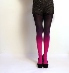 Ombre tights Fuschia Magenta and Black. hand dyed
