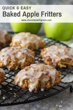 baked apple fritters are an easy fall dessert. Make this donut shop favorite at home. A healthy version of the classic fried apple fritter. A fun fall apple dessert Baked Apple Dessert, Apple Dessert Recipes, Apple Recipes, Fall Recipes, Baking Recipes, Breakfast Recipes, Easy Apple Desserts, Bread Recipes, Easy Baked Apples