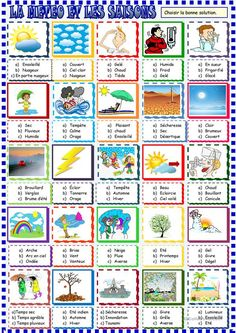 Weather and seasons multiple choice activity - English ESL Worksheets English Fun, English Lessons, Learn English, Weather Worksheets, Worksheets For Kids, Printable Worksheets, Weather Vocabulary, Weather Unit, English Activities