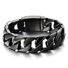 Mens Fashion Solid Stainless Steel Curb Chain Bracelet Punk Wristband Jewelry Wide Varieties Fashion Jewelry