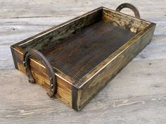 Horseshoe Box Wood Box Tabletop Box Centerpiece Equine