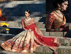 Maroon and Golden Color Half Silk and Half satin Silk Designer Bridal Wear Sarees : Sindura Collection YF-37463