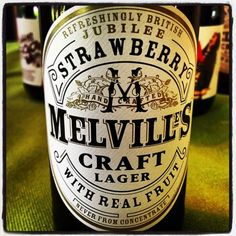 Melvilles Craft Lager - British Jubilee Strawberry - 4.1% ABV - made by cold pressing the berries to get the juice and blending with a lovely beer made with British malts, hops and yeast