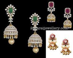 Diamond Jhumkas by Vitaldas Zaveri Royal Jewelry, India Jewelry, Gold Jewelry, Diamond Jewellery, Bridal Earrings, Gold Earrings, Chandelier Earrings, Jhumki Earrings, Diamond Jumkas