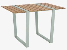 Teak garden table with blue-green steel. Great for the seaside Furniture, Table Furniture, Modern Patio Furniture, Garden Table, Table, Furniture Upholstery, Outdoor Furniture, Sectional Furniture, Outdoor Kitchen